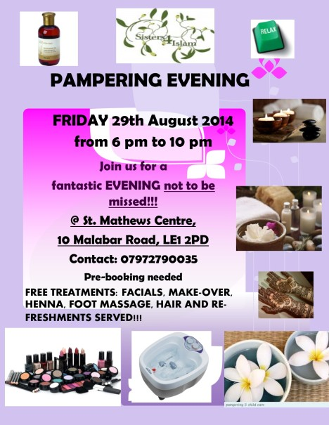 Pampering evening poster Aug 29th